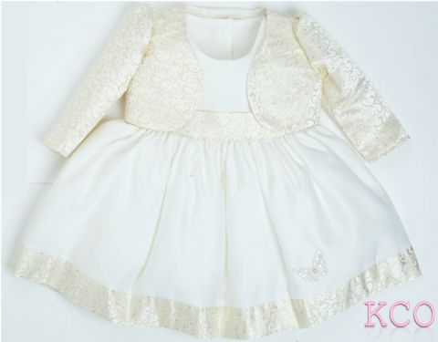 Brocade jacket Dress Gold/Ivory ~ girls dress